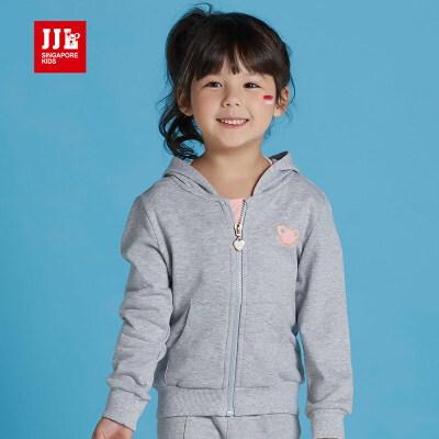 JJLKIDS季季乐童装女童外套春秋款中小童休闲百搭带帽针织上衣GQW63013
