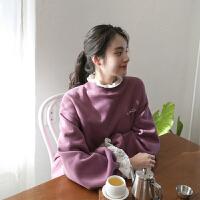 紫色假两件蕾丝拼接套头卫衣2018春装新款女学生加厚加绒无帽上衣 紫色