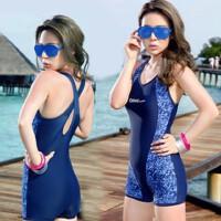 显瘦 遮肚游泳衣 女士连体平角保守加肥大码泳装 奇海3316