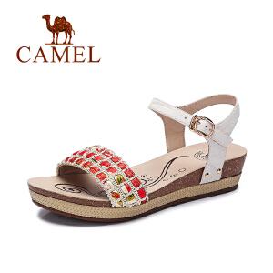 Camel/骆驼女鞋 夏新款 休闲舒适 复古涂鸦编织中跟凉鞋