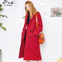 LB -毛呢大衣女中长款韩版2018新款秋冬季原宿风学生红色呢子羊毛大衣