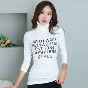 2017秋冬韩版新款字母印花高领打底衫女大码修身显瘦长袖女装t恤
