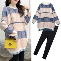 孕妇韩版时尚套头毛衣针织打底衫秋冬装中长款格子上衣两件套装