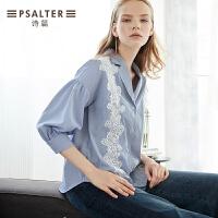 诗篇女装2018秋季新款OL条纹西装领拼接蕾丝灯笼袖气质修身女衬衫