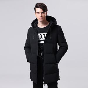 坦博尔中长款男士羽绒服连帽抽绳时尚17冬季新款加厚休闲TF17635