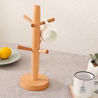 杯架 沥水杯架树形悬挂杯架榉木六爪马克杯架置物架家庭实用厨房咖啡杯架