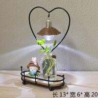 创意小夜灯迷你水培植物办公室桌面小盆栽房间简约工艺品田园可爱