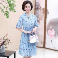 中老年女装夏季短袖40-50岁中年妈妈装高贵夏装修身雪纺连衣裙