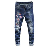 破洞牛仔裤男绣花男士裤子浅色刮烂修身薄款小脚裤子刺绣JDS918 蓝色