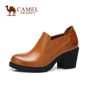 Camel骆驼女鞋 舒适 打蜡牛皮圆头套脚粗高跟女鞋  新款
