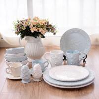 欧式创意陶瓷餐具套装摆件碗盘杯子牙签筒家用现代简约玫瑰浮雕骨瓷婚庆*