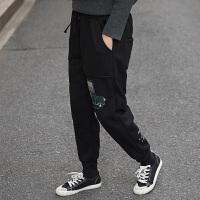 2017冬季新款加绒加厚休闲收口运动裤显瘦哈伦裤女士百搭卡通卫裤 均码