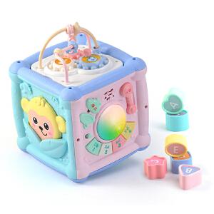 【满200减100】谷雨儿童早教益智手拍鼓0-1岁宝宝数字屋形状配对积木玩具六面盒