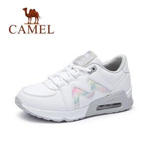 Camel/骆驼女鞋 2017秋季新款舒适时尚慢跑鞋小白鞋 气垫运动女鞋