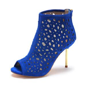 【3折到手价149.7元】D:Fuse/迪芙斯羊皮鱼嘴超高跟高帮女鞋410047129