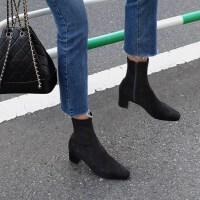 2019秋冬弹力靴方头粗跟马丁靴瘦瘦袜子靴中跟短靴女春秋单靴 黑色