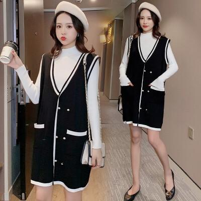 冬天针织毛衣连衣裙秋冬外穿两件套 孕妇小香风套装怀孕衣服