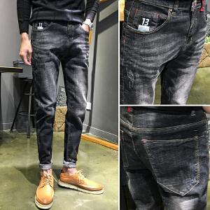 秋冬新款韩版男装牛仔裤休闲百搭直筒修身男式牛仔长裤
