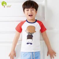 【当当自营】贝康馨童装 男童纽扣孩纯棉T恤 韩版卡通时尚爆款短袖童t恤