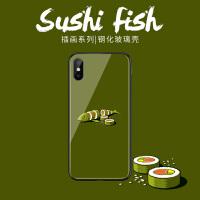 绿色切块生鱼苹果7plus手机壳iphone6新款xs max创意玻璃壳6s个性全包8简约ins风7情侣6plus趣味