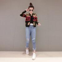 2018新款时尚优雅女外套春秋欧洲站秋装女2018新款欧货潮时尚迷彩短外套薄款小个 图色