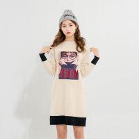 新女士外套2018春季新款连衣裙韩版卡通毛衣针织外套女装针织衫 均码