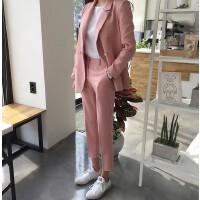 2017秋冬新款藕粉色双排扣西装外套韩版高腰九分小脚裤两件套装女