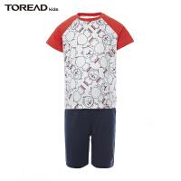 【4折价:107元】探路者童装 2021夏新品户外萌宠印花男童短袖套装QAXJ83138