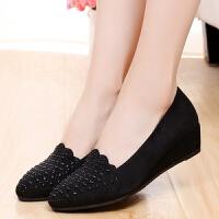 春秋女鞋韩版水钻时尚坡跟女单鞋时装鞋黑色工作鞋