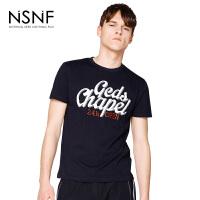NSNF纯棉双色字母黑色圆领短袖t恤男 男装2017新款 修身圆领针织短袖