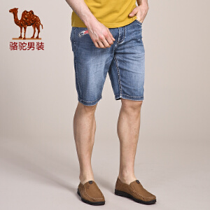 骆驼男装 夏款五分裤青年时尚休闲修身短裤牛仔裤男
