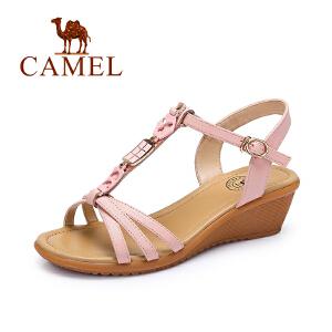 camel骆驼女鞋 时尚休闲头层纳帕牛皮搭扣坡跟凉鞋百搭坡跟凉鞋