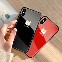 苹果8plus手机壳情侣iPhone xs max玻璃保护套全包个性潮牌6s硅胶软边创意xr新款男女卡通可爱7p镜面女