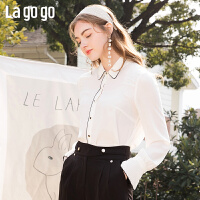 Lagogo/拉谷谷2020新款方领撞色喇叭袖衬衫女JACC431C19