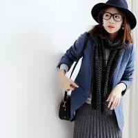 2017新款一粒扣 外搭女 短款 小西装 修身秋冬 羊毛 牛仔蓝色 M 38