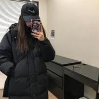 【超�品牌周】大被子羽�q棉服 冬新款中�L款�^膝�n版黑色�p薄�r尚