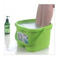 圣强 脚底按摩功能 塑料足浴桶 洗脚盆 洗脚桶足浴盆 绿色