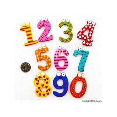 可爱多10只装 木质彩色大号数字冰箱贴6cm 早教用品 jjb36