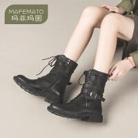 玛菲玛图Ann马丁靴女短靴子英伦风黑色帅气机车靴百搭2020新款春秋单靴潮57511-28