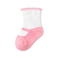 2019浅粉+棉朵粉婴儿鞋款平纹袜7.5cm, 2双装