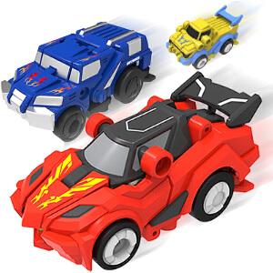 【满199立减100】灵动创想 正版魔幻车神3跳跃战士变形机器人全套动漫周边儿童玩具男孩套装