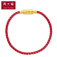 周大福 红色女款 不锈钢扣/铜扣手绳/皮绳YB【多款可选】 YB20 铜扣 16.25cm