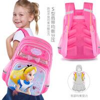 迪士尼小学生书包女童一年级爱丽丝公主1-3护脊减负儿童双肩背包