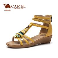 Camel/骆驼女鞋 舒适休闲 波西米亚风串珠靓丽个性编制带低跟.