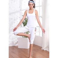 新款瑜伽服套装女跑步运动长款背心紧身七分裤女 健身服两件套 支持礼品卡