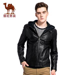 骆驼男装 2017年冬季新款可脱卸帽无弹PU皮男青年长袖纯色夹克衫