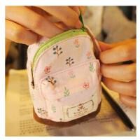 韩版 田园小碎花 创意棉帆布小书包 零钱包 多功能钥匙包