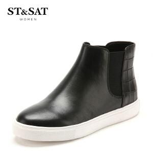 【3折到手价149.7元】星期六(ST&SAT) 石头纹牛皮革平跟圆头休闲短靴SS54112820