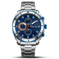 2018新款 新品美格尔megir男士手表 商务运动多功能钢带手表石英表2075