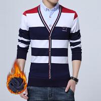 冬季保暖衬衫男士长袖加绒加厚韩版假两件套头毛衣针织衫大码上衣